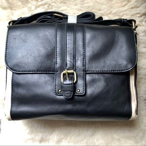 BCBGMaxAzria saddle cross body bag w/ chain handle